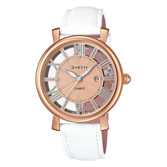 Casio Sheen SHE-4047PGL-7A Pink Gold with Leather Strap Women's Brand New Watch